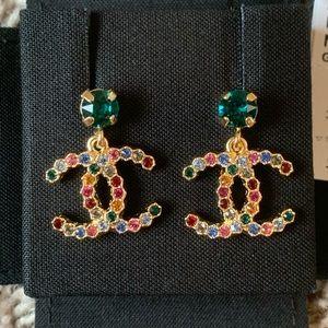 Multicolor Crystal CC Dangle Earrings